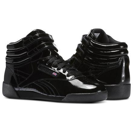 Reebok Freestyle Hi Patent Leather - Grade School Kids Fitness Shoes in Black