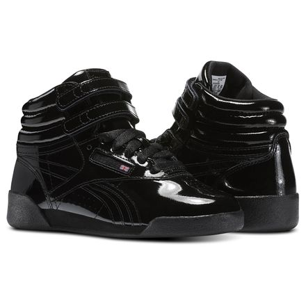 Reebok Freestyle Hi Patent Leather - Pre-School Kids Fitness Shoes in Black