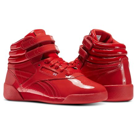 Reebok Freestyle Hi Patent Leather - Pre-School Kids Fitness Shoes in Red