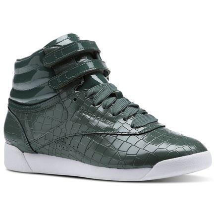 Reebok Freestyle HI Crackle Women's Fitness Shoes in Chalk Green / Pragmatic Teal / White