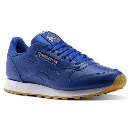 Reebok Classic Leather Gum Men's Retro Running Shoes in Collegiate Royal / Gold Met / White-Gum
