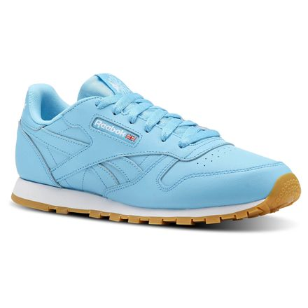 Reebok Classic Leather Gum Unisex Retro Running Shoes in Crisp Blue / White-Gum