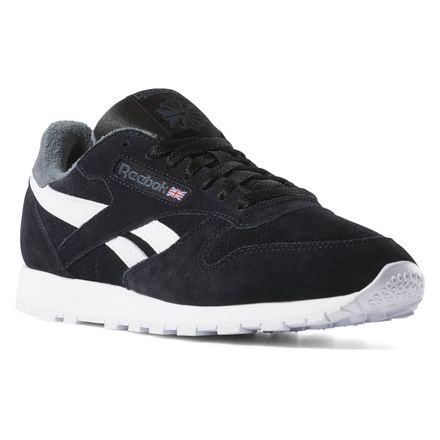 reebok classic men's leather casual shoes in black