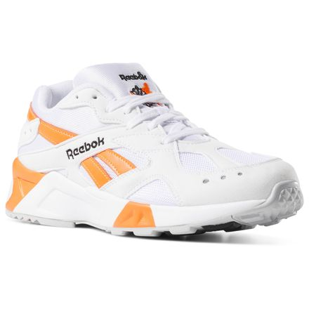 Reebok Aztrek Unisex Retro Running Shoes in White / Solar Orange.