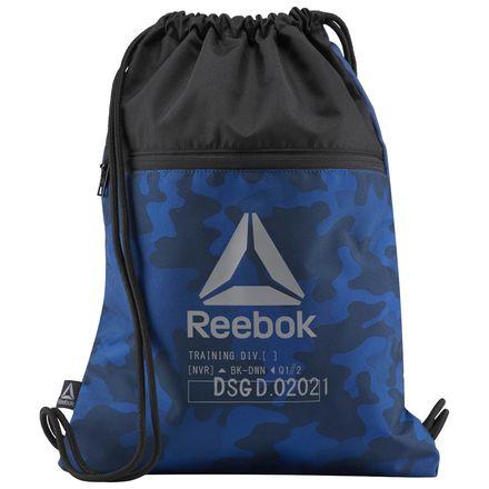 Reebok Enhanced Training Drawstring Gymsack in Washed Blue Camo
