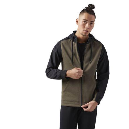 Reebok Training Supply Hoodie Men's Jacket in Army Green