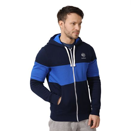 Reebok Color Blocked Men's Casual Full-Zip Hoodie in Collegiate Navy