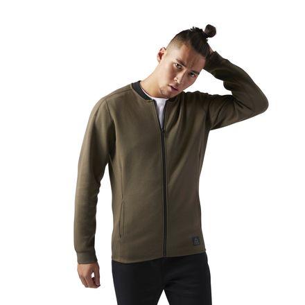 Reebok Training Supply Varsity Men's Jacket in Army Green