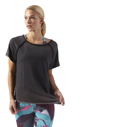 Reebok Washed Graphic Women's Yoga, Studio T-Shirt in Black