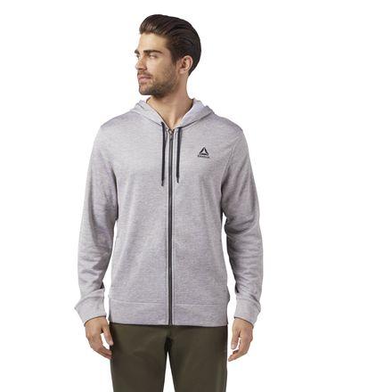 Reebok Logo Men's Training Full Zip Hoodie Jacket in Medium Grey