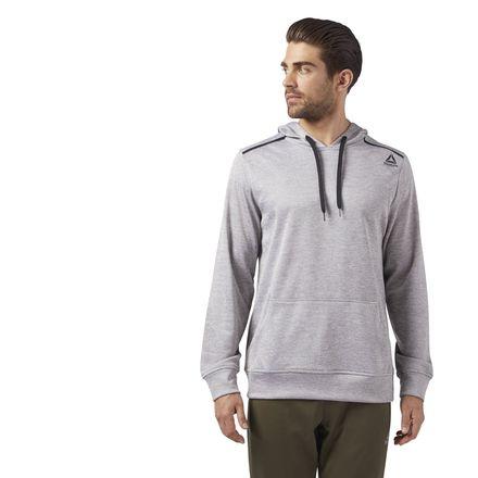 Reebok Men's Training Fleece Hoodie in Medium Grey