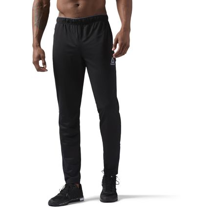 Reebok Workout Ready Stacked Logo Men's Training Trackster Pants in Black