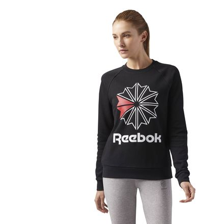 Reebok Starcrest Crewneck Women's Casual LS T-Shirt in Black