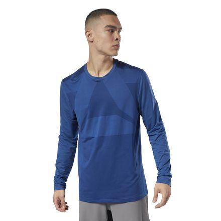 Reebok Men's Combat Thermowarm Long Sleeve Tee in Blue