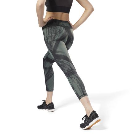 Reebok Women's Yoga, Studio Lux Bold 7/8 Tights - Chalked Movement in Green