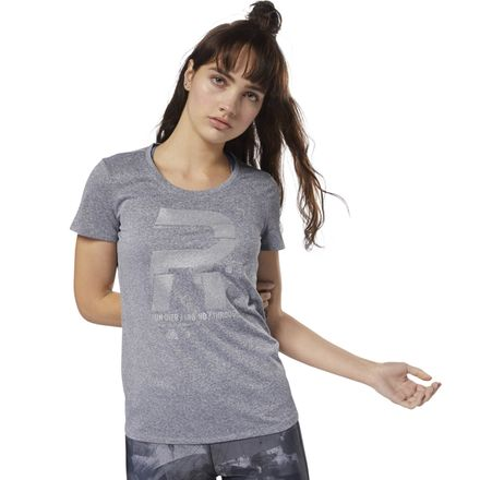 Reebok Women's Running Reflective Graphic Tee in Grey