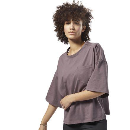 Reebok Training Supply Women's Lifestyle Pocket Tee in Almost Grey