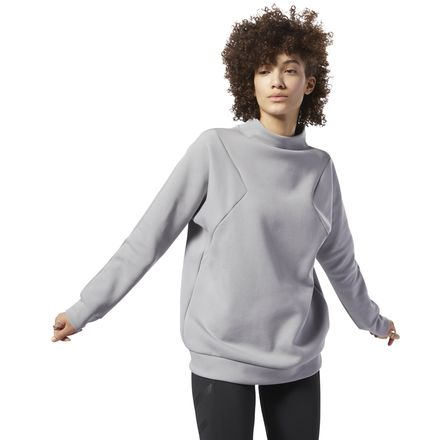 Reebok Training Supply Women's Lifestyle Crew Sweatshirt in Solid Grey