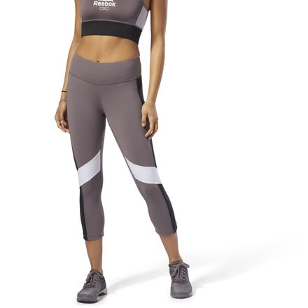 Reebok Lux 3/4 Tight Color Block Women's Training Leggings in Almost Grey