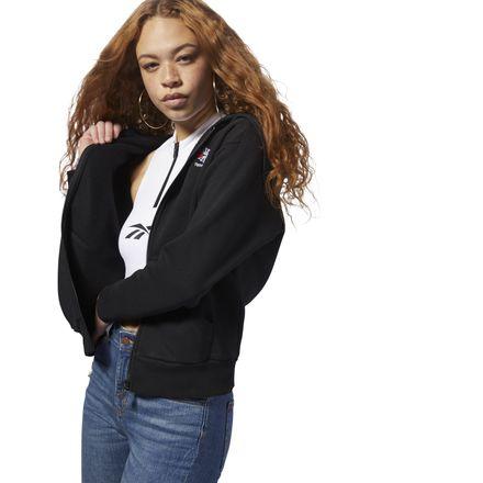 Reebok Women's Casual, Lifestyle Fleece Zip-Up Hoodie in Black