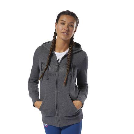 Reebok CrossFit Women's Training Full-Zip Hoodie in Dark Grey Heather