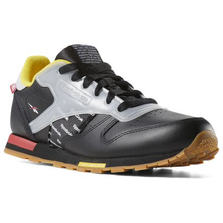 Reebok Classic Leather Altered - Grade School Retro Running Shoes in Black