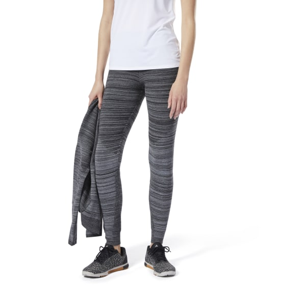 Reebok Knit Fitted Pants, Women's Training Leggings in Dark Grey Heather