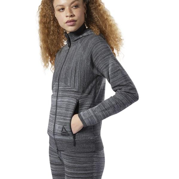 Reebok Knit Control, Women's Training Hoodie in Dark Grey Heather