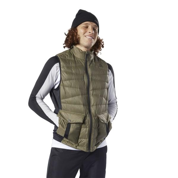Reebok Men's Outerwear Thermowarm Hybrid Down Vest in Army Green