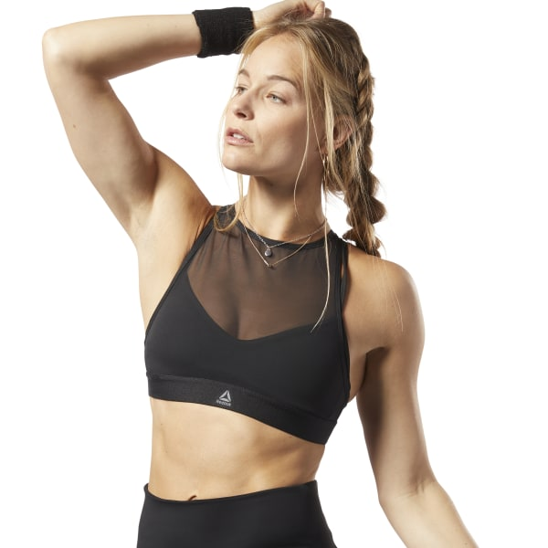 Reebok Women's Studio Strappy Mesh Medium-Impact Workout Bra in Black