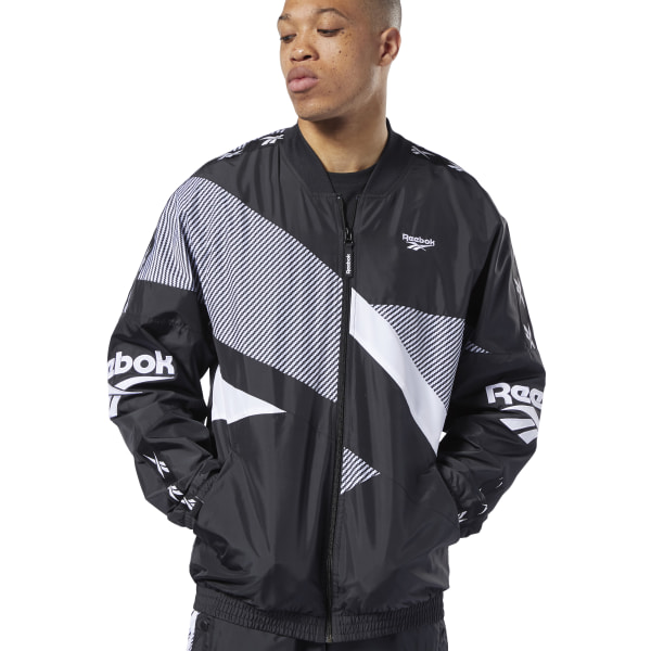 Reebok Classics Vector Men's Lifestyle Track Jacket in Black / Grey