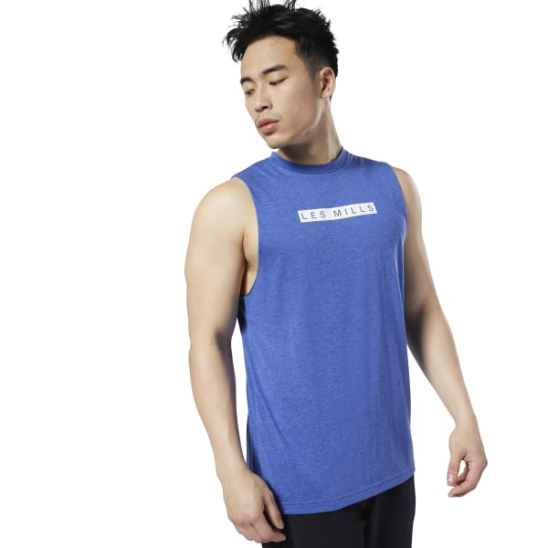 Reebok LES MILLS® Men's Studio Muscle Tank Top in Blue