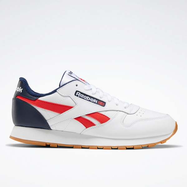 Reebok Classic Leather Men's Retro Running Shoes in White / Navy
