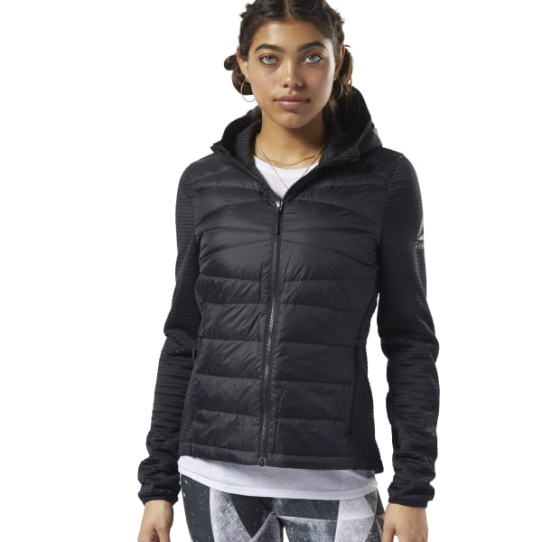 Reebok Women's Outerwear Thermowarm Hybrid Down Jacket in Black