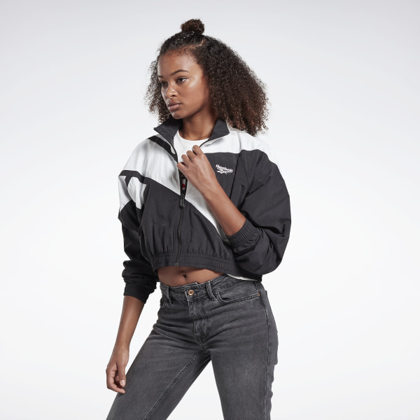 Reebok Women's Classics Vector Cropped Track Jacket in Black / White