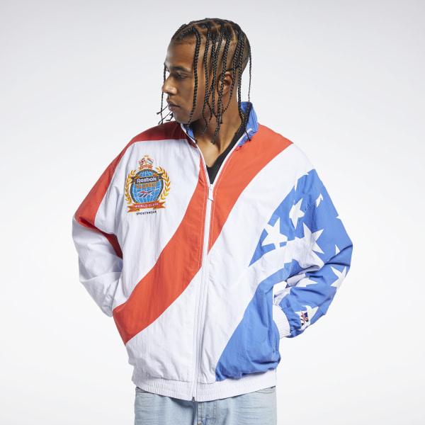 Reebok Unisex Classics Intl Flag Track Jacket in White / Blue / Red