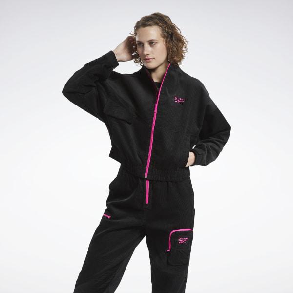 Reebok Classics Corduroy Women's Track Jacket in Black / Pink