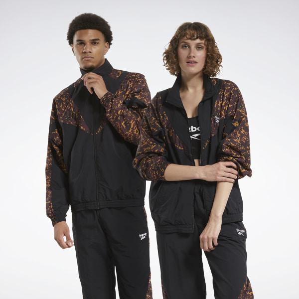 Reebok Unisex Classics Allover Print Track Jacket in Black / Brown Camo