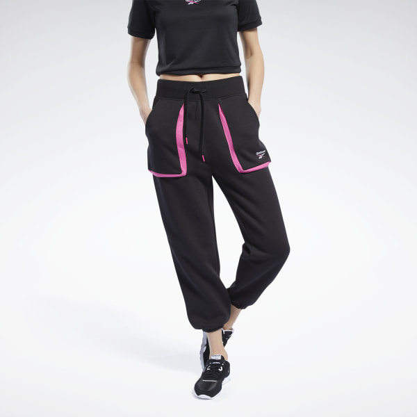Reebok Women's Classics Joggers Pants in Black / Pink