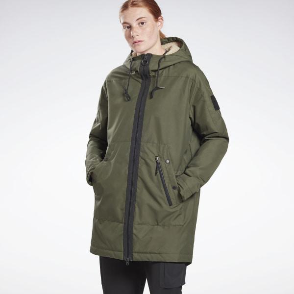 Reebok Women's Outerwear Urban Fleece Parka in Poplar Green