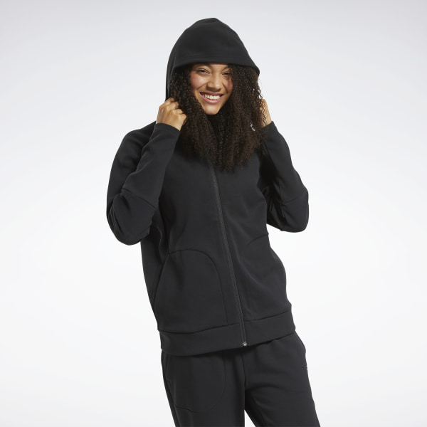 Reebok Women's Training Quik Cotton Full-Zip Hoodie in Black