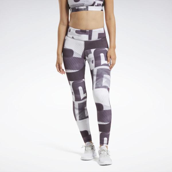 Reebok Lux Bold 2 Megaheritage Women's Training Tights in White / Purple