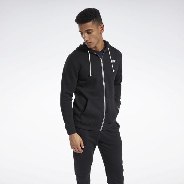 Reebok Training Essentials Men's Fleece Zip Up Hoodie in Black