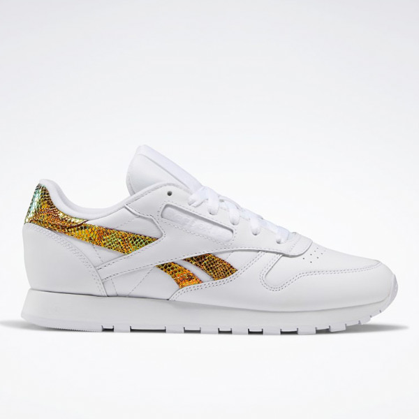 Reebok Women's Classic Leather Lifestyle Shoes in White / Snakeskin