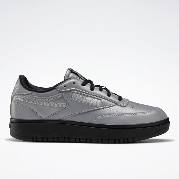 Reebok Women's Club C Double Court Shoes in Matte Silver / Black