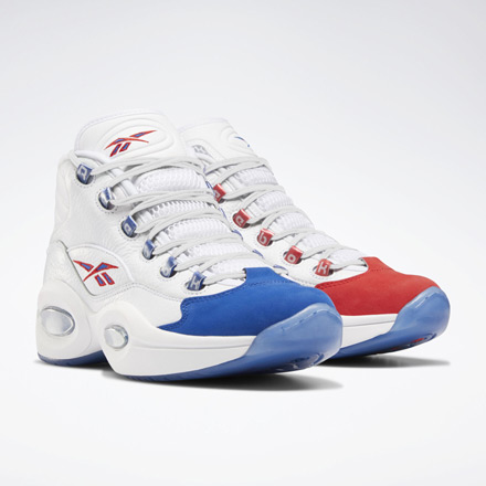 Reebok Question Mid Men's Basketball Shoes in White / Blue / Red