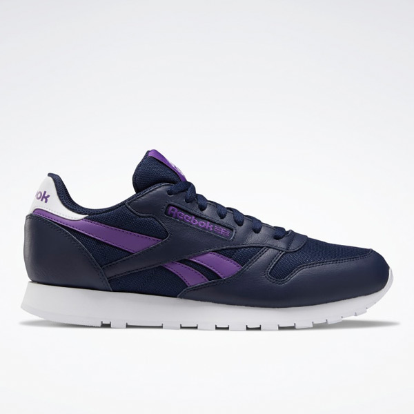 Reebok Unisex Classic Leather Lifestyle Shoes in Navy / Purple