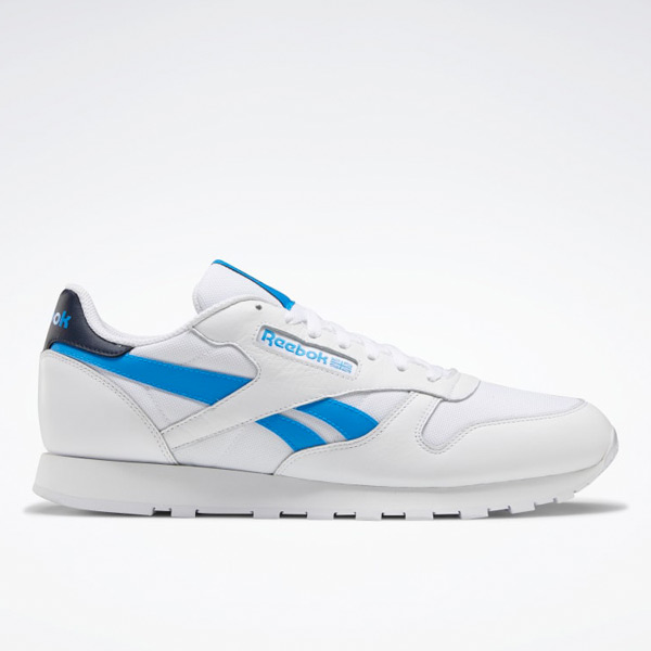 Reebok Unisex Classic Leather Lifestyle Shoes in White / Blue