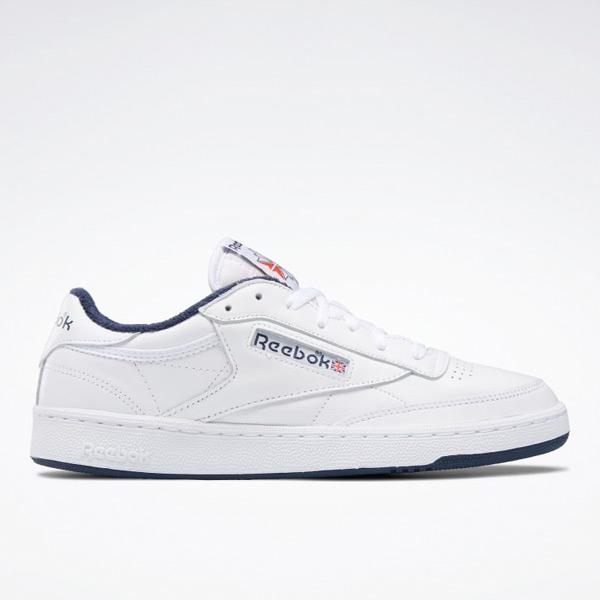 Reebok Club C 85 Men's Court Shoes in White / Navy