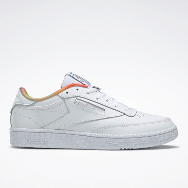 Reebok Unisex Club C 85 Pride Leather Court Shoes in White